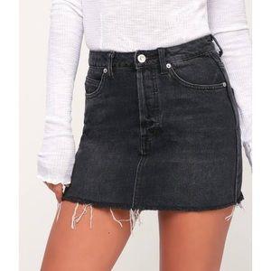 Free People Black Denim Mini Skirt New NWT